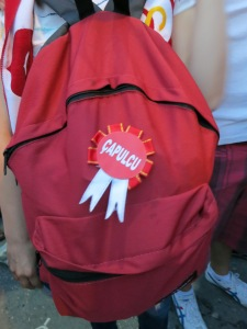 "A ribbon proudly pinned to a backpack with ""çapulcu"" on it."