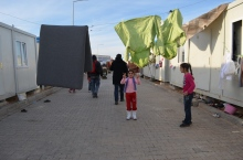 Syrian kids playing in refugee camp