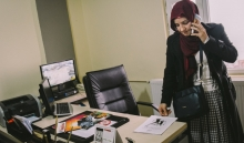 """One year in to her term as co-mayor of Kocakoy, Kilic is not interested in talking about her painful past. """"I am strong...I am not a victim,"""" she declares in between phone calls in her office. Credit: Bradley Secker"""